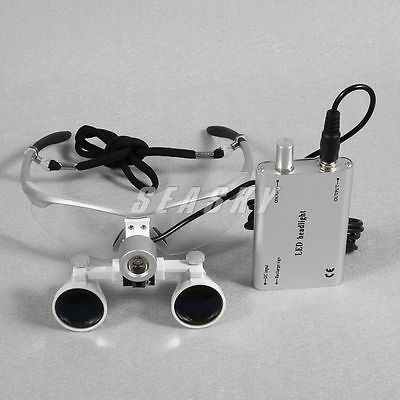 Dental 3.5X silver Surgical Binocular Loupes Optical Glasses with LED Head light