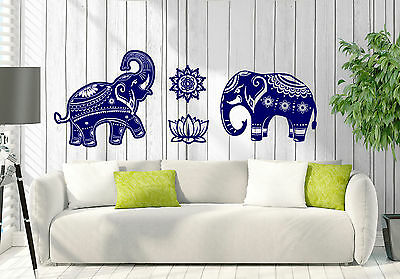 Wall Decal Couple Indian Elephant Pattern on a Mandala Skin Interior Decor z4678
