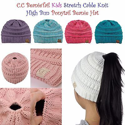 Kids CC Ponytail Beanie Children Soft Cable Knit Messy High Bun CC Beanie Hat!