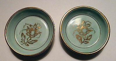 Two Ceramic BUTTER PATS Dishes AMOGES Hand Painted 1950s Florals