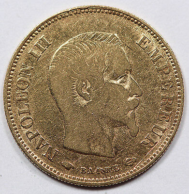 FRANCE 1856 A NAPOLEON III 10 FRANCS 3.22 Gram GOLD Coin Fine/VF #1