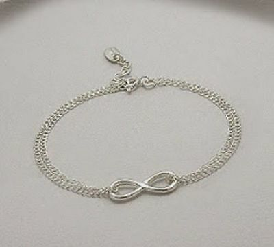 925 Sterling Silver Infinity Sign Charm Chain Bracelet Adjustable With Peace Tag
