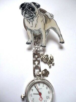 Nurse Watch Vet Nurse Watch Brown PUG DOG with silver dog charm free p&p uk sell