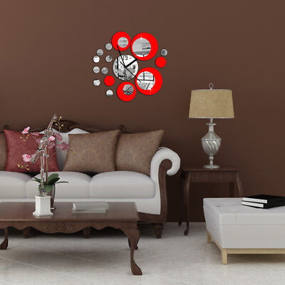DIY Circles Wall Art Clock Mirror Wall Sticker Home Decor Red Silver