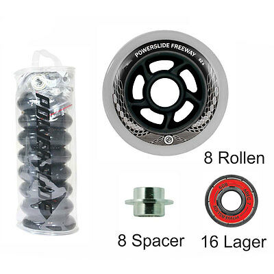 POWERSLIDE Inline Rollenset FREEWAY 80mm mit ABEC5 + Spacer 8er-Satz