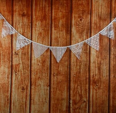 3M Rustic Jute Burlap Bunting Banner White Lace Flags Wedding Party Decor