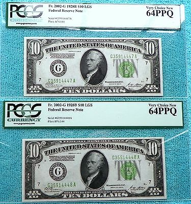 1928-B New-64 PPQ $10 2-Consecutive G-Chicago Fr#2002-G FRN Redeem in Gold Note