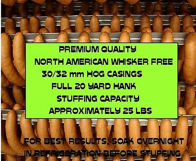 Natural North American Hog Casings for Sausage (Whisker Free) Worlds Best) 30/32