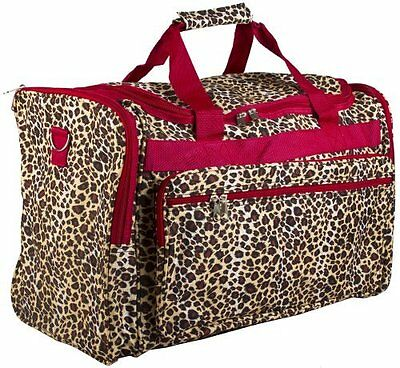 World Traveler 81T16-168-R Duffle Bag, One Size, Red Trim Leopard