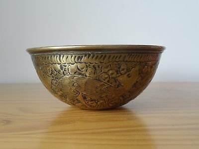 c.19th - Antique India Indian Brass Hand Engraved Bowl