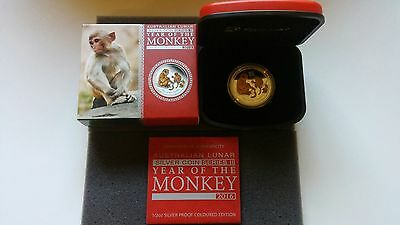 2016 Australia Lunar Year of Monkey 1/2 Oz Colorized Proof Silver .999 Coin