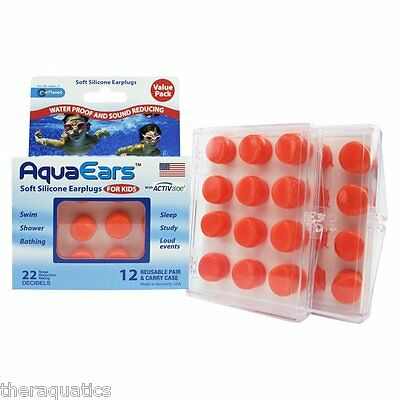 Cirrus AquaEars Soft Silicone Ear Plugs for Kids 12 Reusable Pair and Carry Case