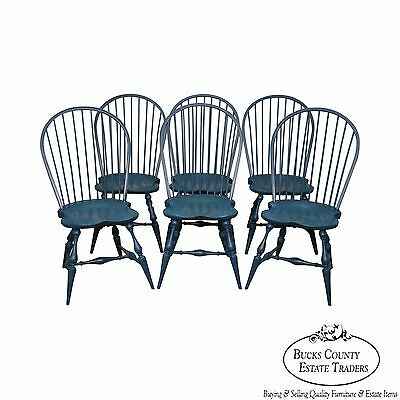 Custom Set of 6 Blue Painted Windsor Dining Chairs by River Bend