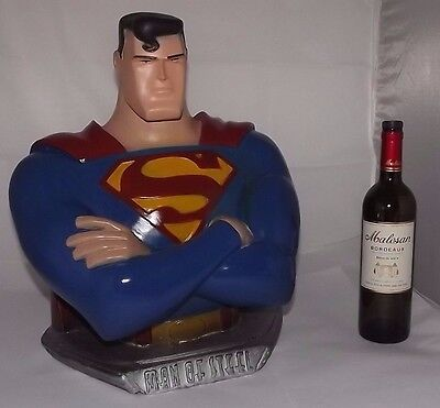 "Rare Huge 18"" Superman bust statue Display pop art deco heavy plaster FREE ship!"
