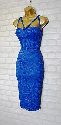 ~VICTORIA~ Royal Blue Floral Lace Midi Bodycon Evening Party Dress 8 10 12 14