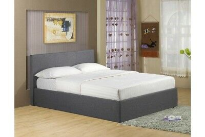 Double King Size Ottoman Storage Bed Frame Gas Lift Up In Grey Linen