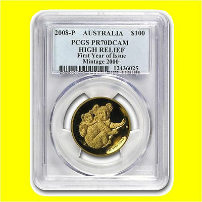 2008 Australia 1 Oz Gold Koala Pcgs Pr 70 Dcam High Relief 1St Year Mint 2K Rare