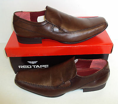 RED TAPE Leek Men's Leather Brown Slip On Casual Formal Shoes Size 6 7 8 9 10 11