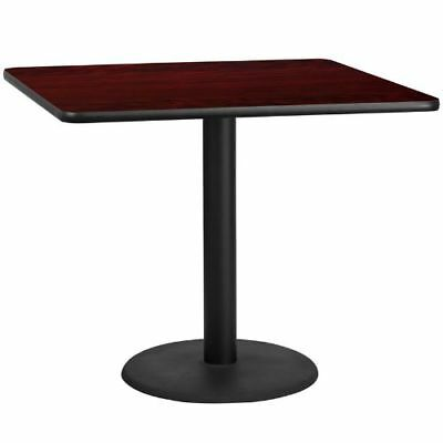 42'' Square Mahogany Laminate Table Top with 24'' Round Table Height Base FLAXUM