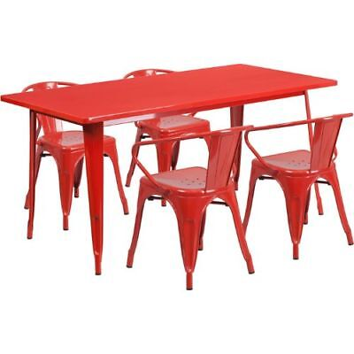 31.5'' x 63'' Rectangular Red Metal Indoor Table Set with 4 Arm Chairs FLAETCT00