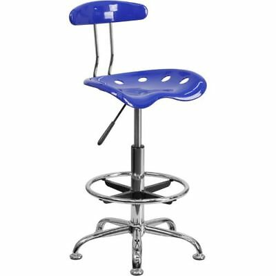 Vibrant Nautical Blue and Chrome Drafting Stool with Tractor Seat FLALF215NAUTIC