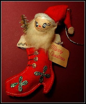 Vintage Mid-century Christmas Ornament Made in Japan Post WWII Santa Claus #1  e