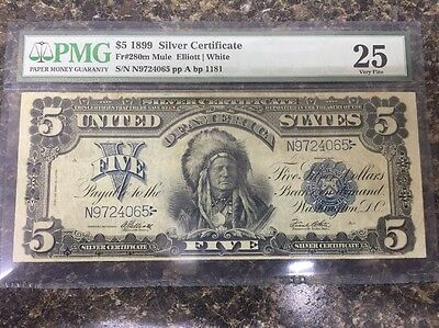 1899 $5 Silver Certificate - Indian Chief - FR#280m - Graded PMG 25 - Very Fine