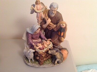 Kirkland Signature Holy Family Porcelain Handpainted Nativity Display Boxed.