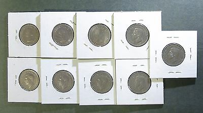 Lot of 9 Great Britain Shilling 1948-1962