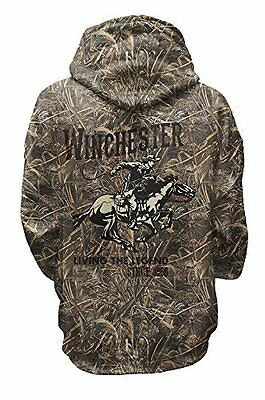 Winchester Classic Rider Logo Mens Hunting Fleece Hoodie Realtree Max 5 Camo