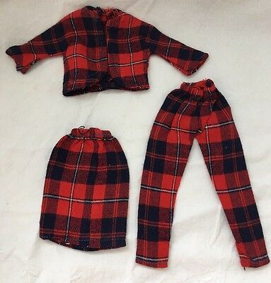 Vintage Knock Off Barbie Doll Outfit RED & NAVY PLAID Jacket Skirt And Pants