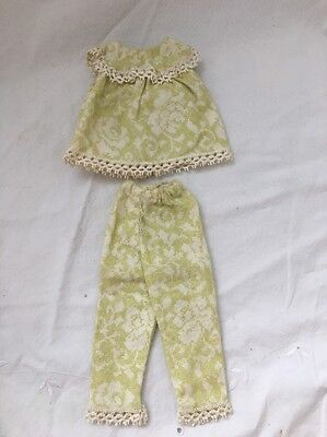 Vintage Knock Off Barbie Doll Outfit Sage Green Flannel PJ's Pajamas Damask Lace
