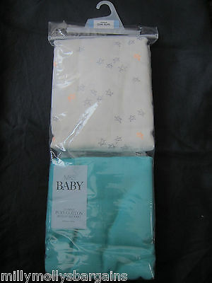New Marks & Spencer Blue White Large Muslin Squares x 2 RRP £20