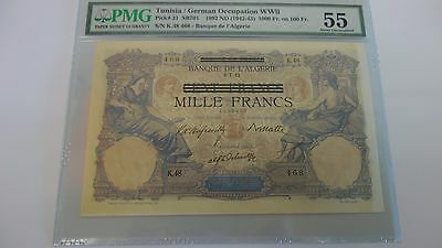1892 ND (1942) Tunisia / German Occupation WWII 1000 Mille Francs PMG 55 PICK 31