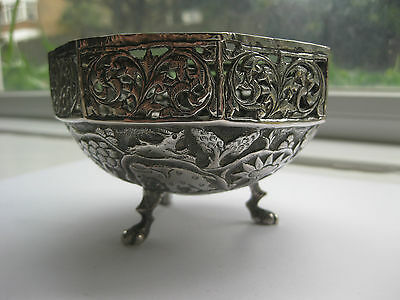 Antique Indian Silver Bowl circa 1860 with stylised animals and pierced design