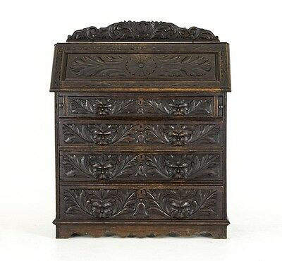 B563 Antique Scottish Gothic Carved Oak Slant Front Desk, Bureau
