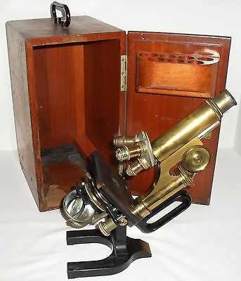 Antique Reichert Wein Brass Monocular Microscope Jug Handle Wood Case 1917 Leitz
