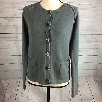 Hanna Andersson Grey Sweater Button Front Size 160 16-18 Cardigan 100% Cotton