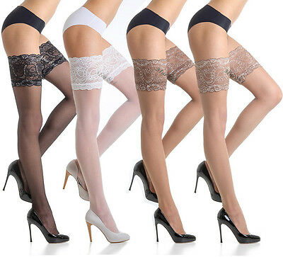 Fiore Sensuous Sheer Hold-Ups with 14 cm Deep Lace Top 20 Denier