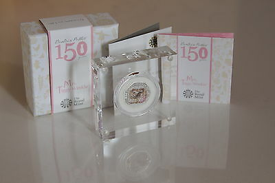 2016 Beatrix Potter Mrs. Tiggy-Winkle 50p Fifty Pence Silver Proof Coin Box Coa