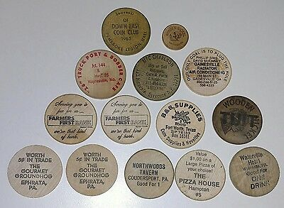 Lot of 14 Vintage Wooden Nickels. From Various Places.