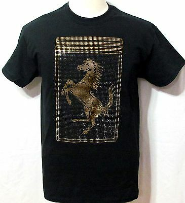 MEN'S F-rrari  T-Shirt with Large Scudetto W/ RHINESTONE  ON FRONT SHORT SLEEVE