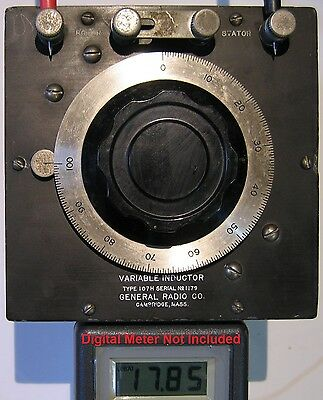 Tested General Radio Variable Inductor 107H Wrong Knob Steam Punk Deacde box