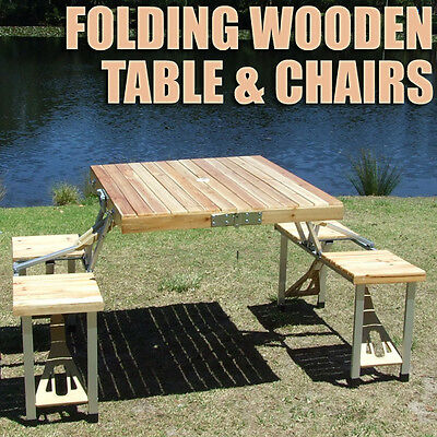 Portable Folding Wooden Aluminium Table Wood Chairs Fold Foldable Camping Picnic