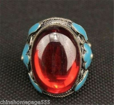 Old Miao Silver Carved Flower Inlay Red Zircon Love Ring Nrr037
