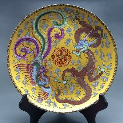 Chinese famille rose porcelain hand-painted ssangyong dragon Phoenix - plate