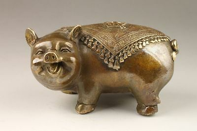 Chinese Handmade Lovely Wealth Pig Bronze Statue