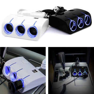 3 Sockets Cigarette Lighter DC 12V/24V Car Dual USB Charger Splitter Multiplier