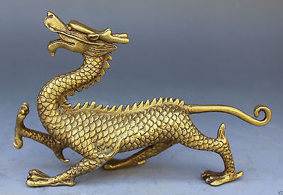 Chinese Bronze Copper Fengshui God Animal Beast Dragons evil Statue