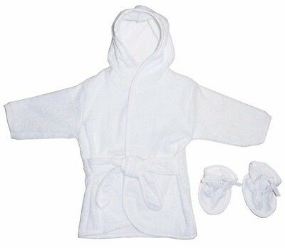 Infant White Terry Hooded Baby Pool / Bathrobe w/Booties - up to 12 months - NWT